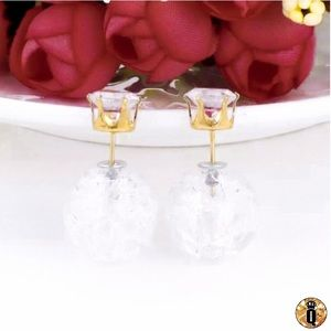 ⚜️[𝟯/$𝟮𝟴]⚜️Gold Crystal Double Earrings NEW